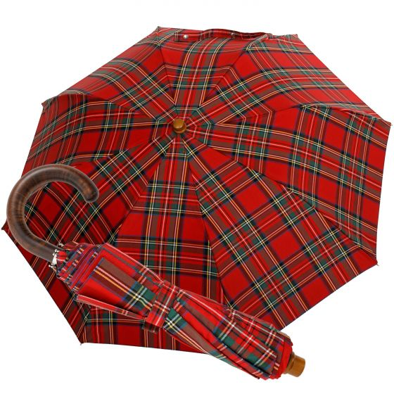Oertel Handmade pocket umbrella Tartan cotton red | European Umbrellas