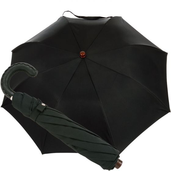 Oertel Handmade pocket umbrella - leather black | European Umbrellas