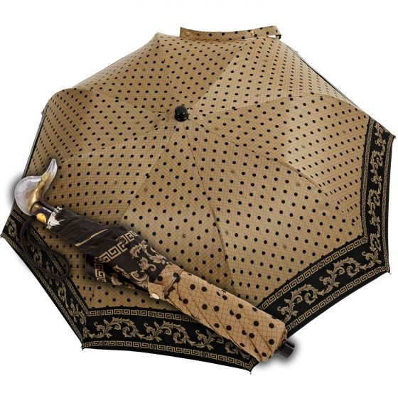 Marchesato - Pocket umbrella - baroque dots beige | European Umbrellas